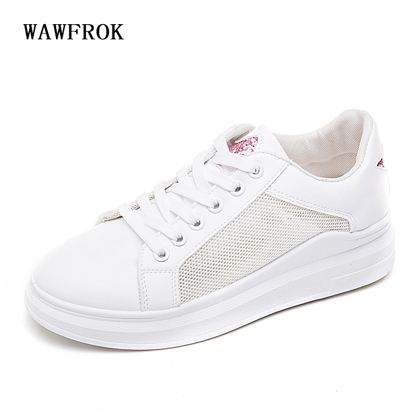 Women Casual Shoes 2018 Spring Summer Leather+Mesh Shoes Woman Flats Platform White Fashion Breathable Women Sneakers beffery summer shoes women genuine leather fashion casual white woman shoes platform thick bottom shoes woman sneakers