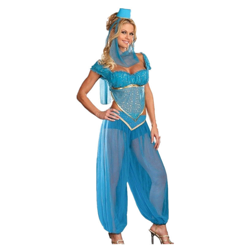 sexy goddess princess jasmine costume adults women carnival halloween costumes belly dance performance arab costume size - Halloween Jasmine