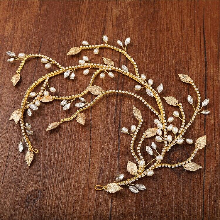 HIMSTORY Pearl Rhinestone Bride Headband Wedding Hair Jewelry Gold Leaf With Rhinestone Vine Hair Bands Wedding Hair Ornament in Hair Jewelry from Jewelry Accessories