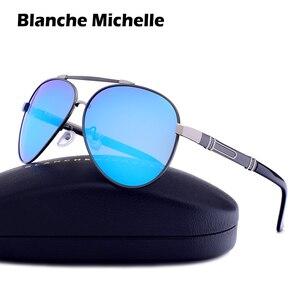 Image 2 - Blanche Michelle Pilot Polarized Sunglasses Men 2020 Brand Mirror Sun Glasses Driving UV400 Alloy Gafas De Sol Oculos With Box