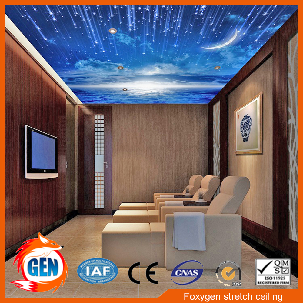 Up to 5 M width pvc stretch ceiling film and designs manufacturer with installation videos lowest price pvc stretch ceiling film