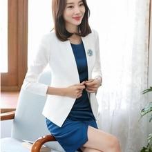 Trajes de vestir formales para mujer trajes de negocios chaqueta blanca y  conjuntos de Blazer ropa de trabajo uniformes de ofici. 9019bbd90fd9