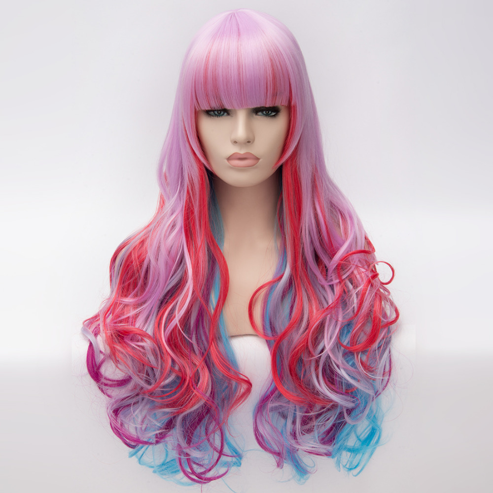 Hot Cheap Wig Style Wavy Synthetic Colourful Pink Red