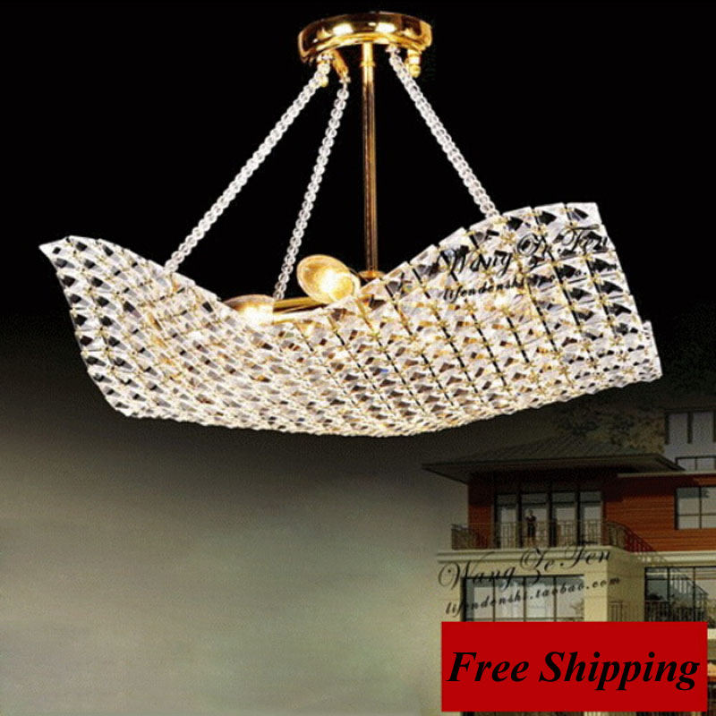Crystal restaurant chandelier modern square crystal semi chandelier bedroom gold lamps dining lights LED crystal lamp
