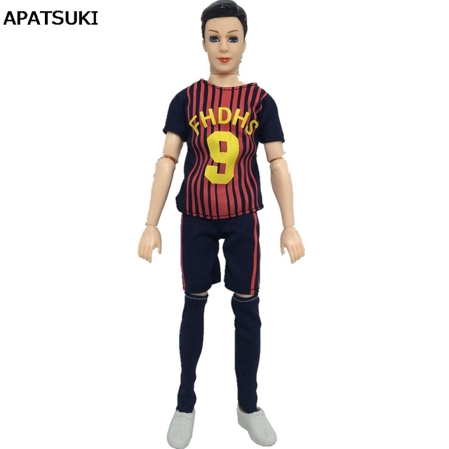 9294bd0e3fc07 1set 1/6 Football Sport Wear Clothes For Ken Doll No.9 Top + Shorts Socks  For Barbie's Boyfriend Ken Doll Male Gym Suits-in Dolls Accessories from ...