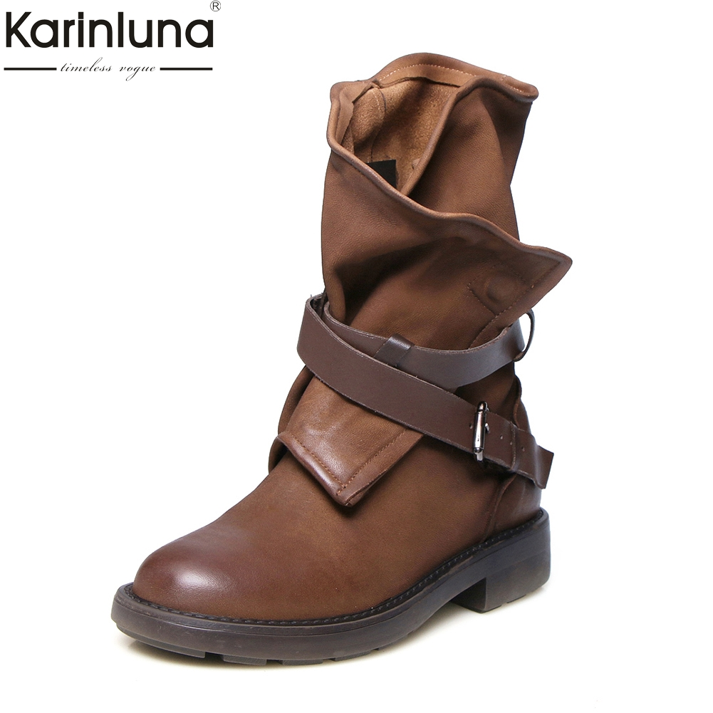 KarinLuna 2018 brand design genuine leather woman mid-calf boots fashion vintage sheepskin Martin boots womens shoes ...