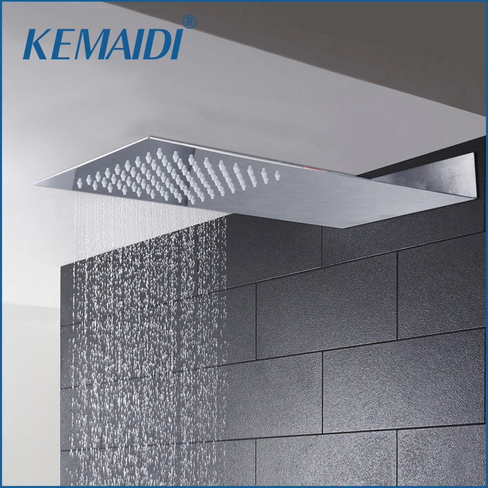KEMAIDI 6Inch Bathroom Ultrathin Shower Head Rainfall Square 304 Stainless Steel Shower Head Bathroom Shower Wall Mount Overhead