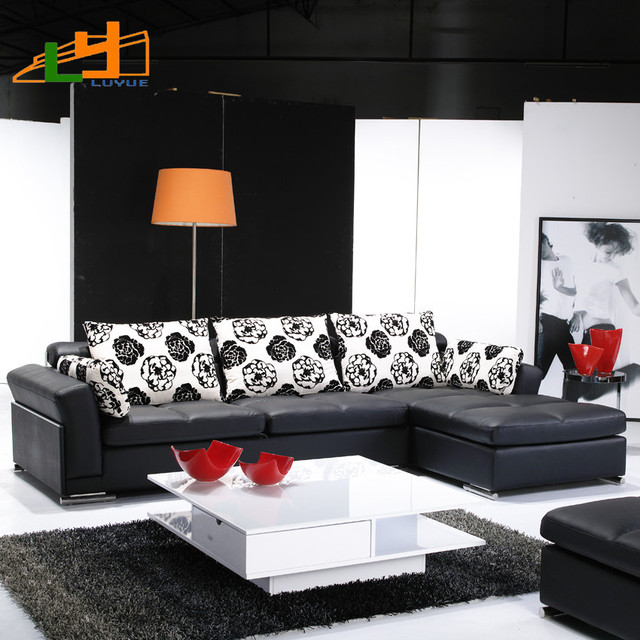 Luyue Modern Chinese L Shaped Leather Sofa Corner Ikea Living Room Small Apartment