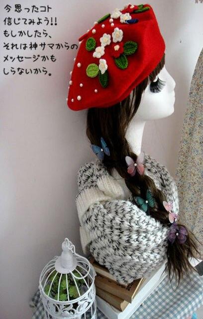 Принцесса Сладкий Лолита Шляпу Пользовательских Вязать Цветок Жемчуг Ручной Зима Ручной Шерсть Берет Шапки Рождество