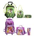 Hot princescars snow queen borboleta saco do trole da escola das crianças set mochila escolar crianças bagagem 3 pc um conjunto para meninos e meninas