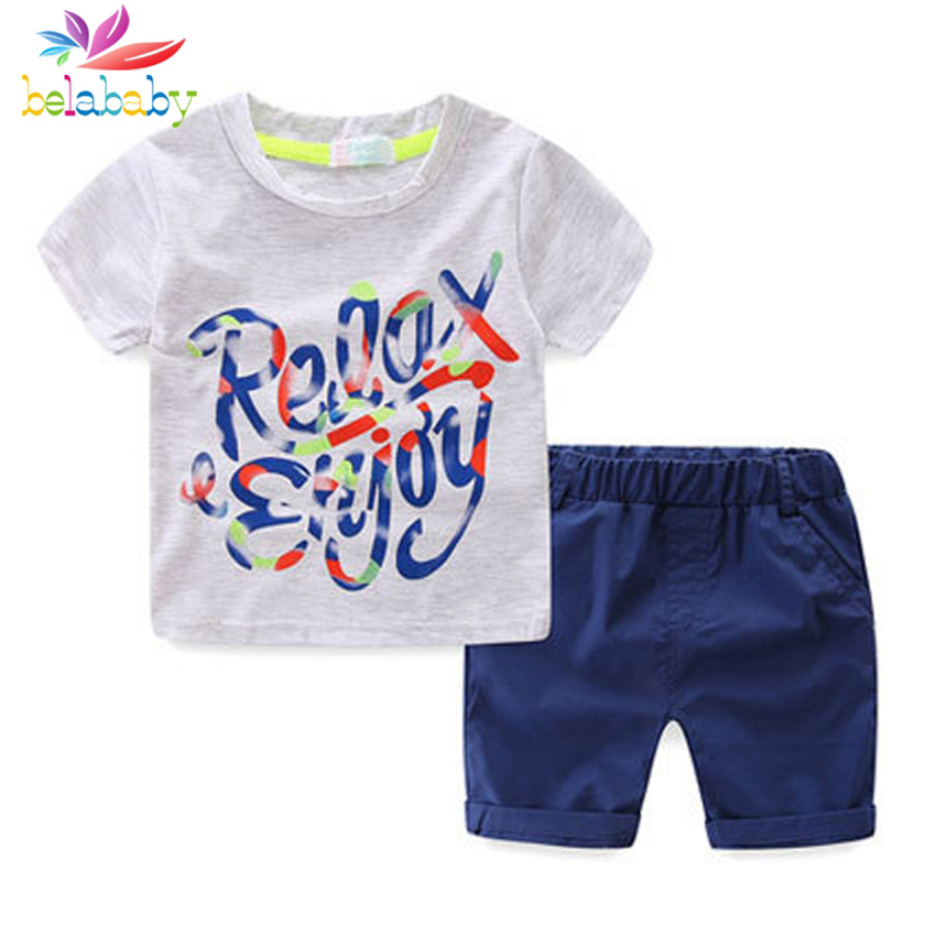 Belababy 2017 Baby Boys Sets Summer Boys Sets Clothes T shirt+short Pants cotton sports Letter printed Set Children 2 Pcs Suit