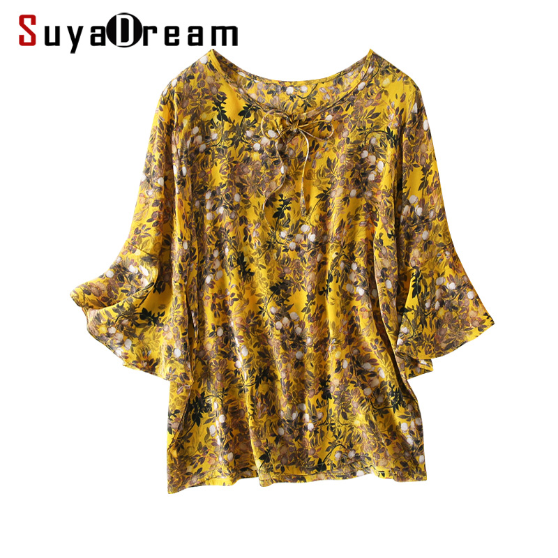 Women Printed   Blouse   100% REAL SILK Crepe Half Flare Sleeved   Blouse     Shirt   O neck 2019 Spring Summer   Shirt   Yellow