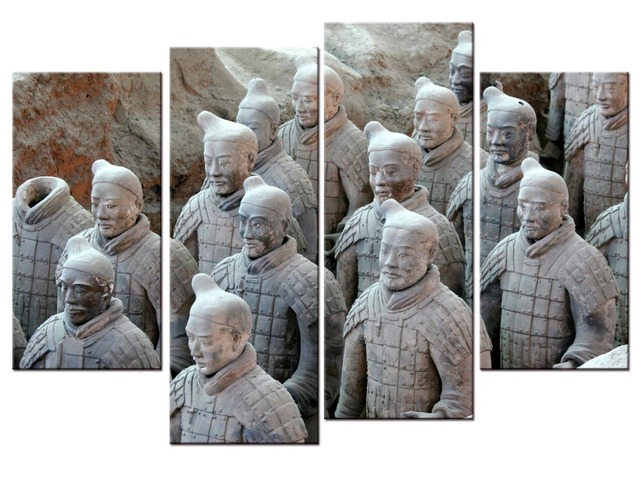 4Pieces Framed Printed Terracotta Warriors Painting sitting room ...