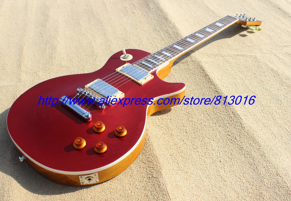 Hot ! electric guitar LP red top ,yellowish see thru bcack,no pickguard, chrome parts!,one piece body and neck  mahognay wood! кернер с протектором 300 мм stayer стандарт 2140 30