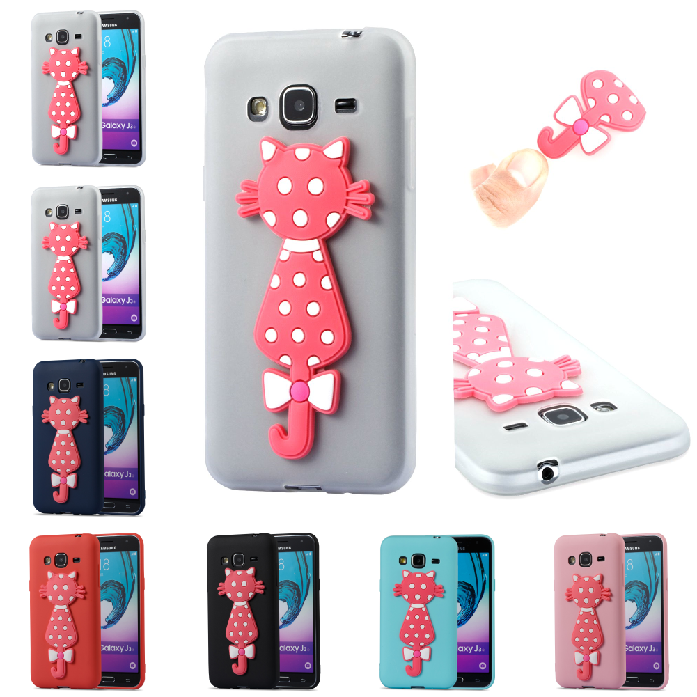 Cute Cartoon SiliconeTPU 3D Cat Cubierta Cover Kryty Shell Bag For Sumsung Samsung Galax Galaxy J3 2016 j 310