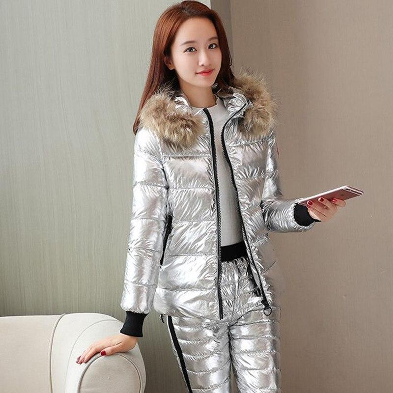 2019 hiver pantalon costume brillant tissu vêtements rembourrés de coton ensemble femme col fourrure doudoune épaisse ouate manteau chaud court Parka