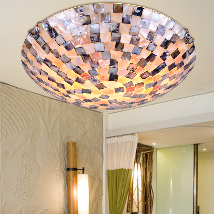 12 אינץ טיפאני הים התיכון סגנון טבעי פגז תקרת אורות lustres לילה אור רצפת בר בית תאורה|תאורת תקרה|   -