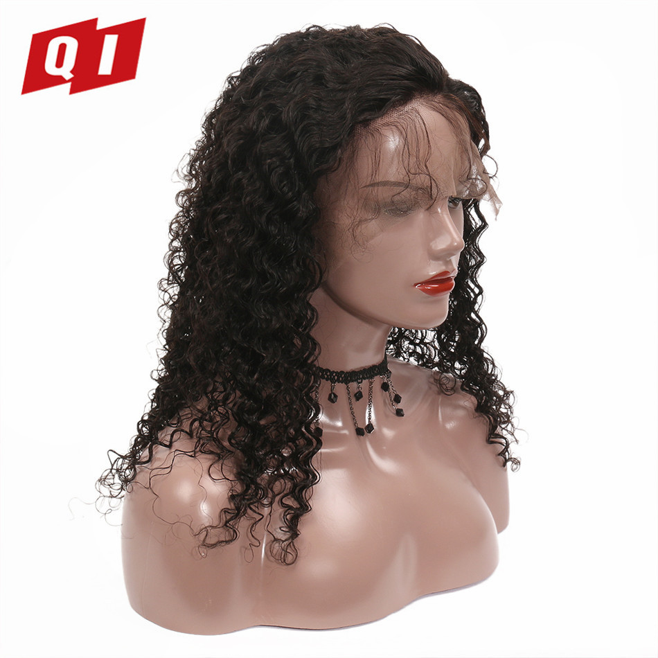 QI Hair Deep Wave&Jerry Curly Lace Front Malaysian 100% Human Hair Wigs 1 Pcs Natural Color Remy Hair Pre-colored Lace Wigs