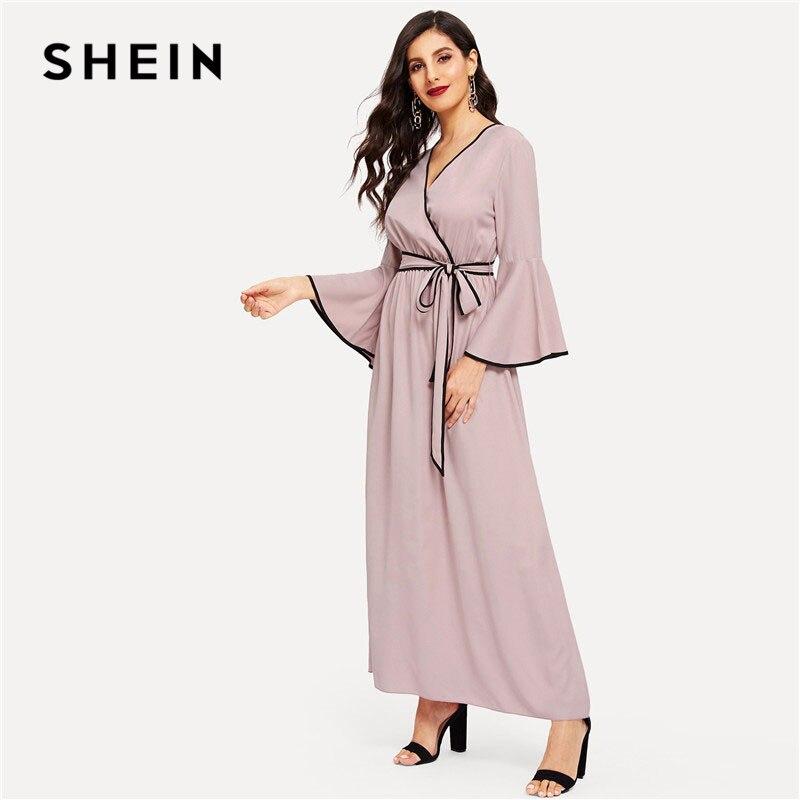 382b66f785 SHEIN Elegant V-neck Contrast Binding Flounce Sleeve Women Maxi Dress Solid  A-Line