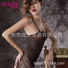 lace sexy lingerie erotic nightwear baby doll costume String Net bodystocking nightwear garter belt sex products black Stockings