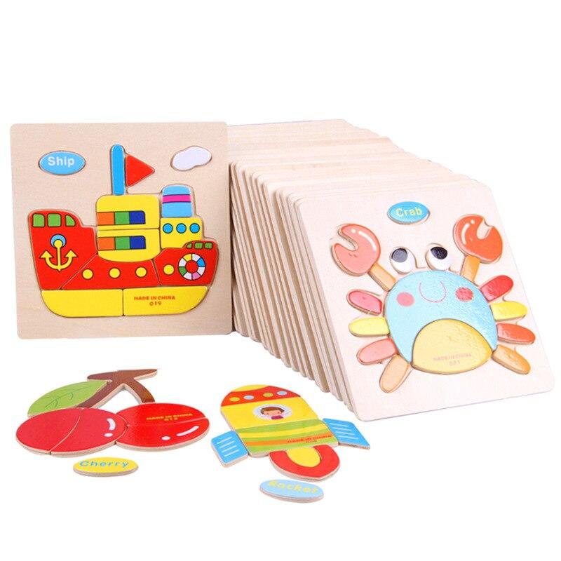 Copii Puzzle 3D Jigsaw Jucării din lemn pentru copii Cartoon Animal - Jocuri și puzzle-uri
