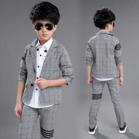 2019 New Boys Formal Suits for Weddings Brand England Style 4 13 Year Old Child Plaid Party Blazer Tuxedos Kids Formal Suits