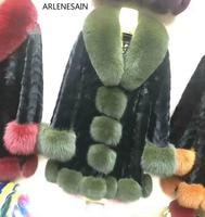 Arlenesain пользовательские Для женщин одежда Шуба реального норки Лисий Мех Куртка с воротником куртки и пиджаки Винтаж