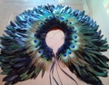 Women's Real Peacock Feather Fur Bridal Bridesmaid Wedding Cape Wrap Pashmina Scarf Shawl for Evening Fancy Dress Party