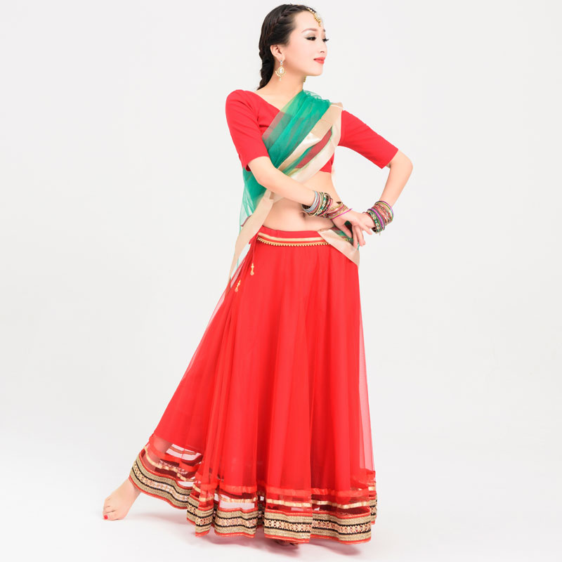 Vêtements de danse indienne 3 pièces femmes grande balançoire Bollywood Sari Costume danse orientale Costume danse folklorique vêtements DQL925