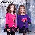 Apliques camisola do inverno para meninas 2016 camisola da menina de flor crianças malha pulôver outwear bebê