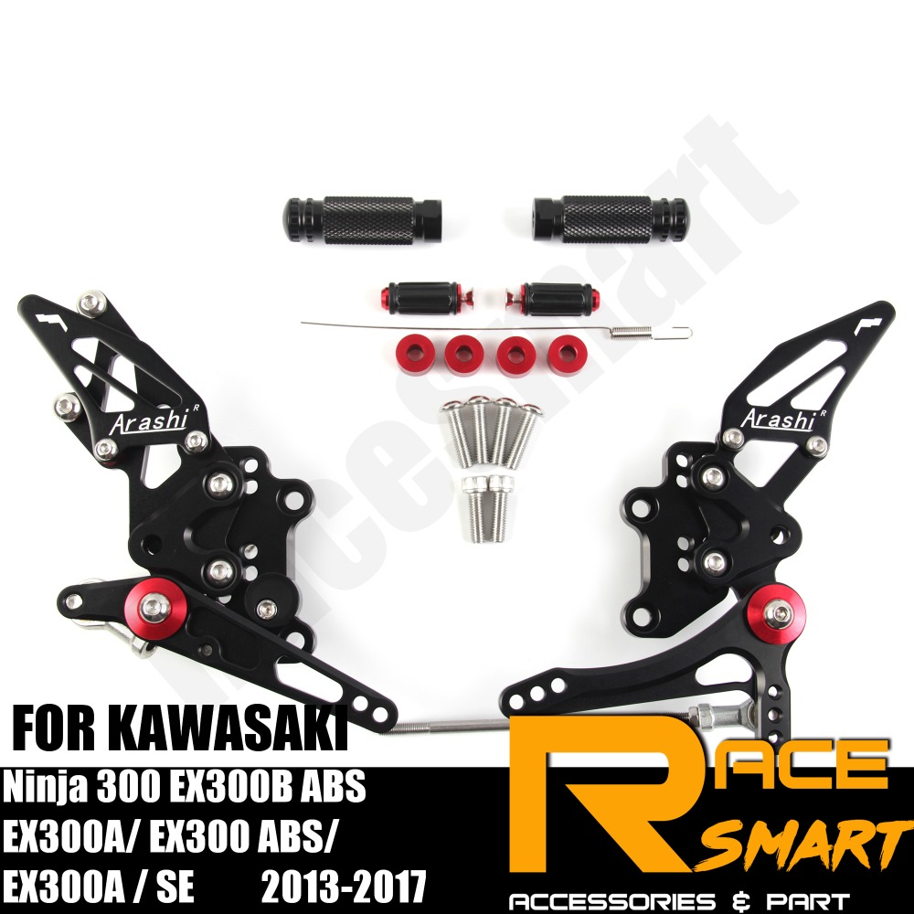 FOR KAWASAKI Ninja 300 EX300B ABS EX300A SE Rear Footrests Foot Rest Pegs Pedal Motorcycle Accessories CNC Adjustable Rearset
