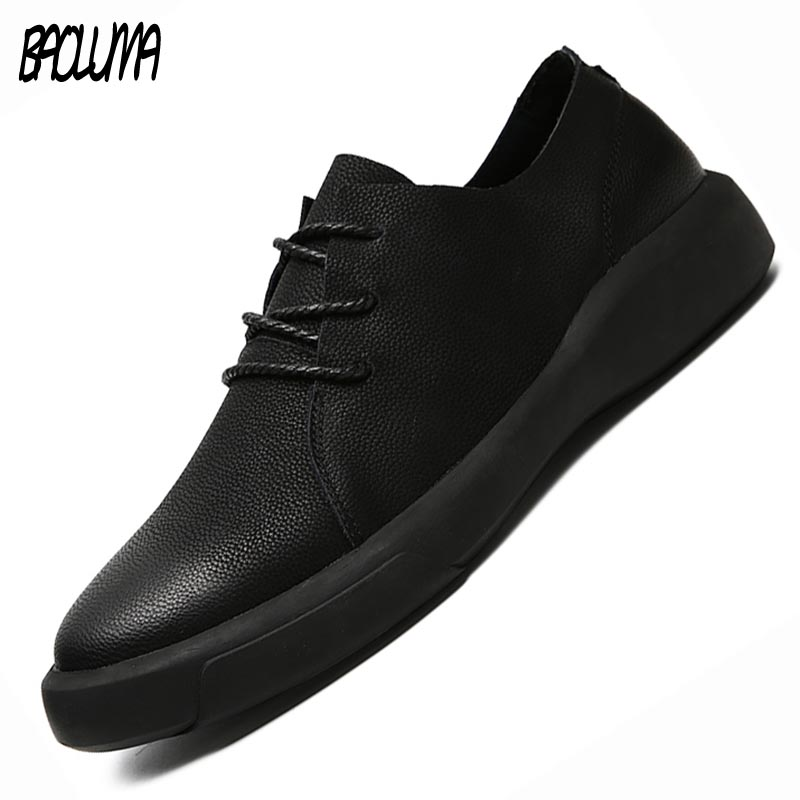 2019 Spring Autumn Real Leather Men's Casual Shoes Moccasins Loafers Breathable Driving Shoes Men Soft Bottom Sneakers Plus Size