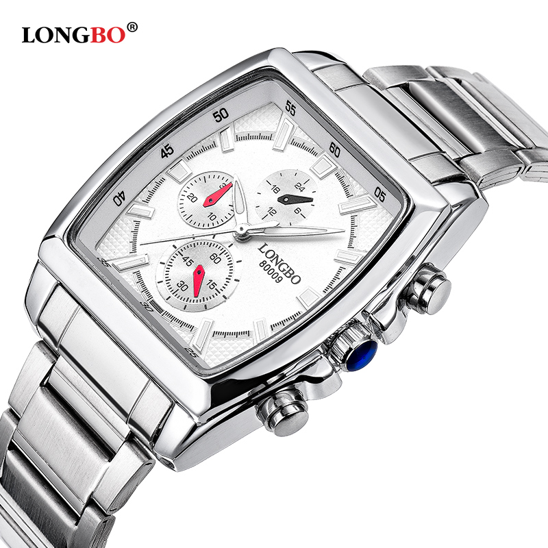 Longbo Brand Quartz Military Sports Square Watch Men Stainless Steel Strap Watches Casual Wristwatch Full Steel Men Watch Clock цена и фото
