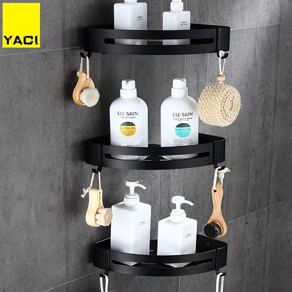 YACI Space Aluminum Bathroom Shelves Black Bathroom Accessories Shower Corner Shelf Shampoo Storage Rack Bathroom Basket Holder
