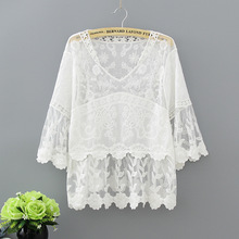 Summer new style women blouse mori girl hollow out crochet lace cotton white shirt sweet princess tops Blusas femininos 1812