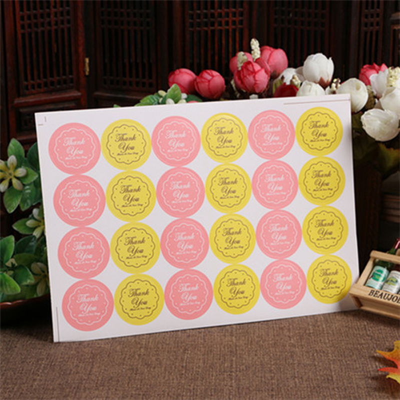 2017 Hot Sale 240pcs/lot Yellow/pink Thank You Design Sticker Labels Food Seals, Gift Stickers For Wedding Seals Free Shipping high quality stretchable chrome black vinyl wrap sheet roll for car wrapping air free bubble