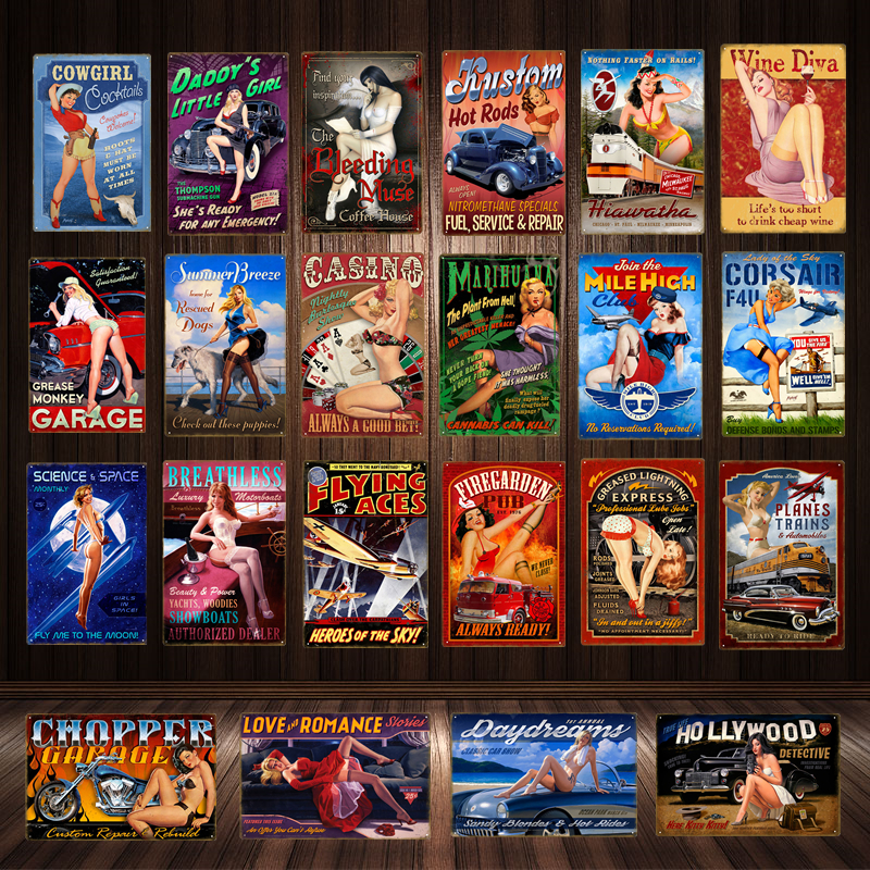 HOT ROD HEAVEN PIN UP GIRL VINTAGE GARAGE METAL TIN SIGN POSTER WALL PLAQUE