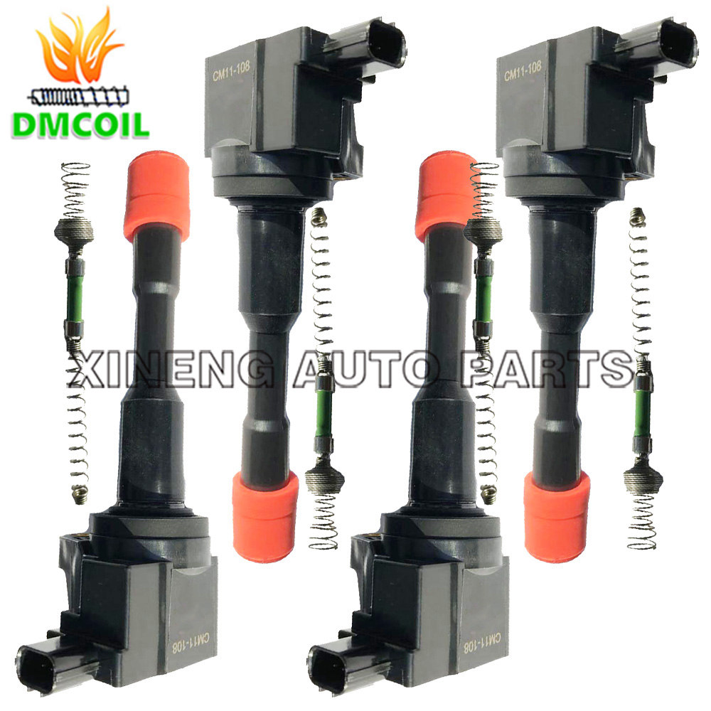 4 PCS REAR ROW IGNITION COIL WITH RESISTANCE FOR HONDA CIVIC VII VIII 01 FIT II