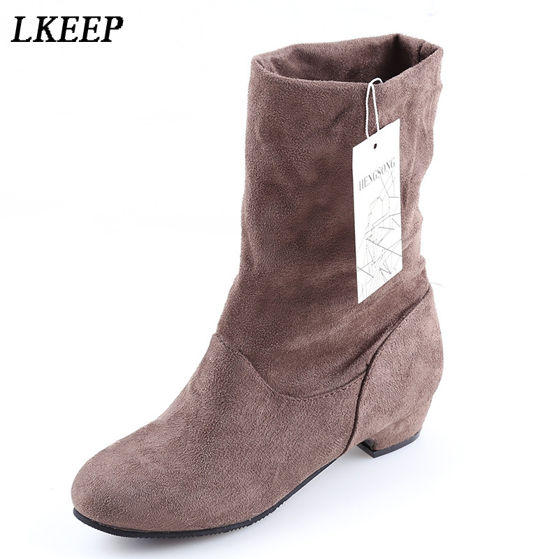 2017 Autumn Winter Women Boots Mid-Calf Martin Boots Brand Fashion Female Stretch Cotton Fabric Slip-on Boots Flat Shoes Woman yub brand waterproof rain boots for women with solid color slip on winter mid calf shoes for girls