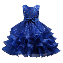 цены Cute Bow Pearls Kids Girls Dresses Baby Girls Wedding Dress Princess Multi-layer Lace tutu Party Dress Children Clothes
