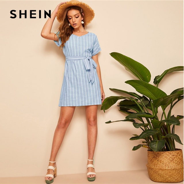 SHEIN V Neck Vertical Striped Belted Dress 2019 Elegant Green Pastel Short Sleeve Summer Women Tunic Straight Dresses 3