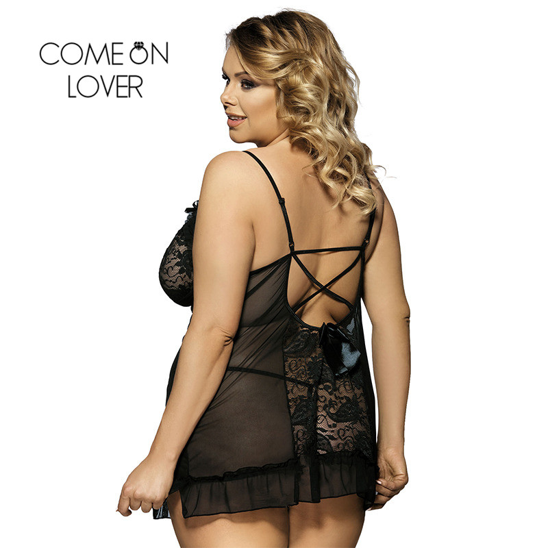 RI7175 Comeonlover Womens Lingerie And Exotic Hot Sale Mini Babydoll Nightwear Lace Black Dress+G string Nuisette Lingerie Sexy 1