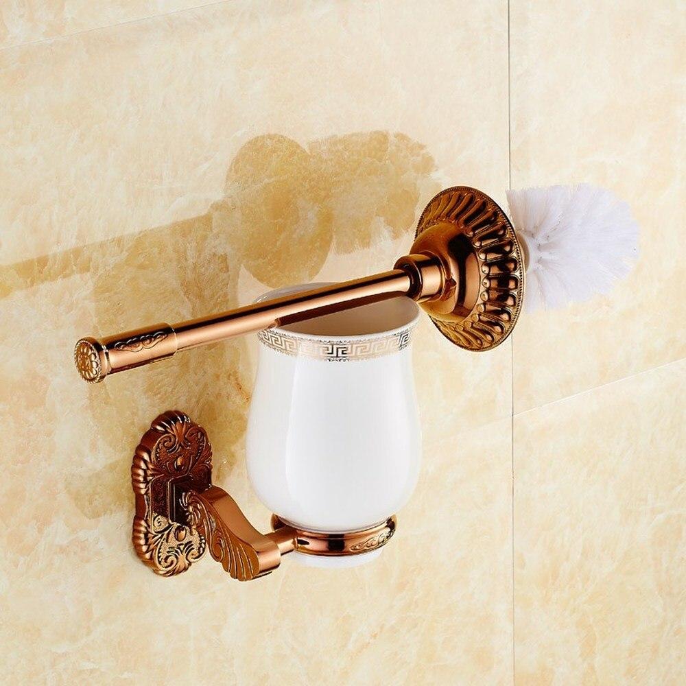 Rose gold toilet brush holder set European bathroom hardware pendant bathroom ceramic toilet cup LO731528 simple bathroom ceramic wash four piece suit cosmetics supply brush cup set gift lo861050