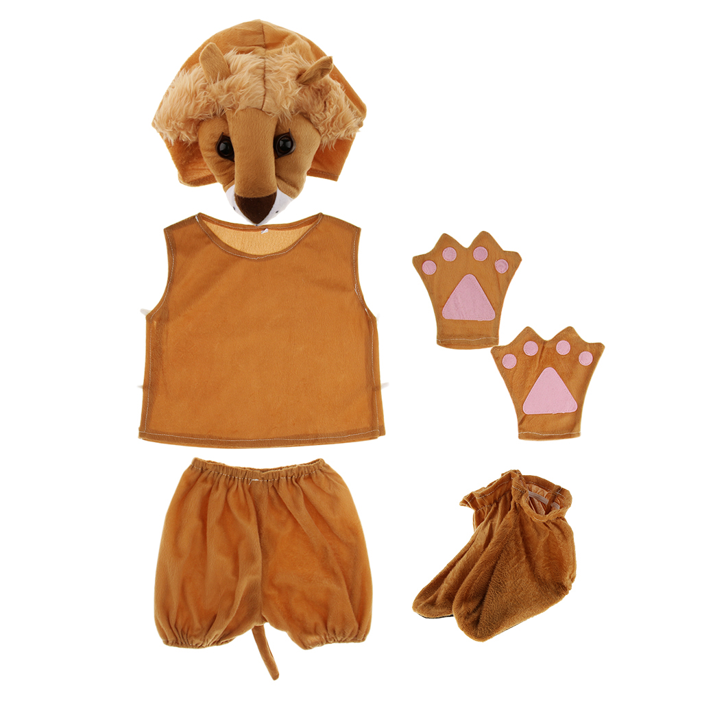 Kids Zoo Animal Costume Set Lion Hat Top Shorts Gloves Shoes Party Halloween Boys Girls Cosplay Costumes Brown Fabric Clothing