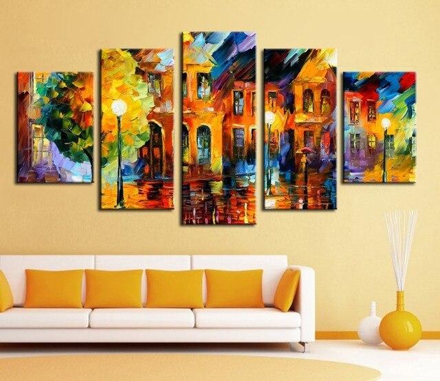5 Panel Wall Decor Modern Art Set Beautiful City Street scenery ...