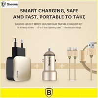 Baseus Universal Lefast Series Household Travel Charger Kit EU Plug Dual Port Car Charger 2