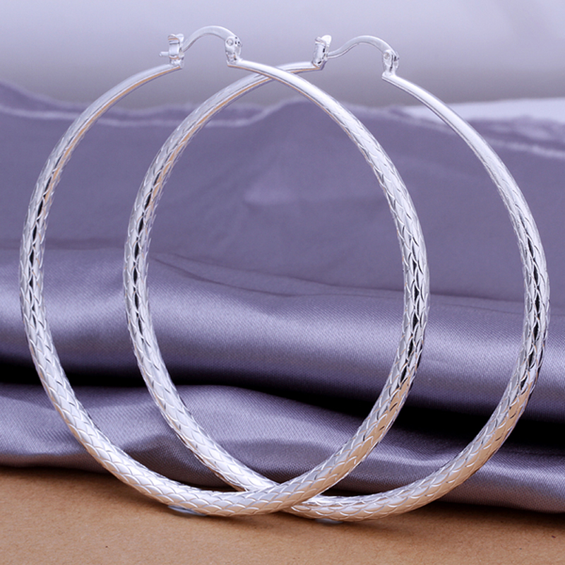 Big Silver Hoop Earrings Basketball Brincos Round Silver Large Circle Party Earrings for Women Jewelry Gift