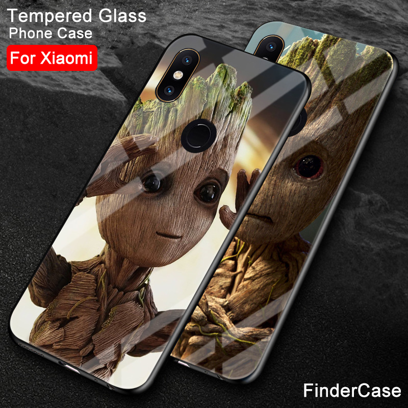 Fitted Cases Alert Findercase For Xiaomi Redmi Note 7 Groot Tempered Glass Phone Cover For Xiaomi Mi 6 8 Se Mix 2 2s 3 Max 3