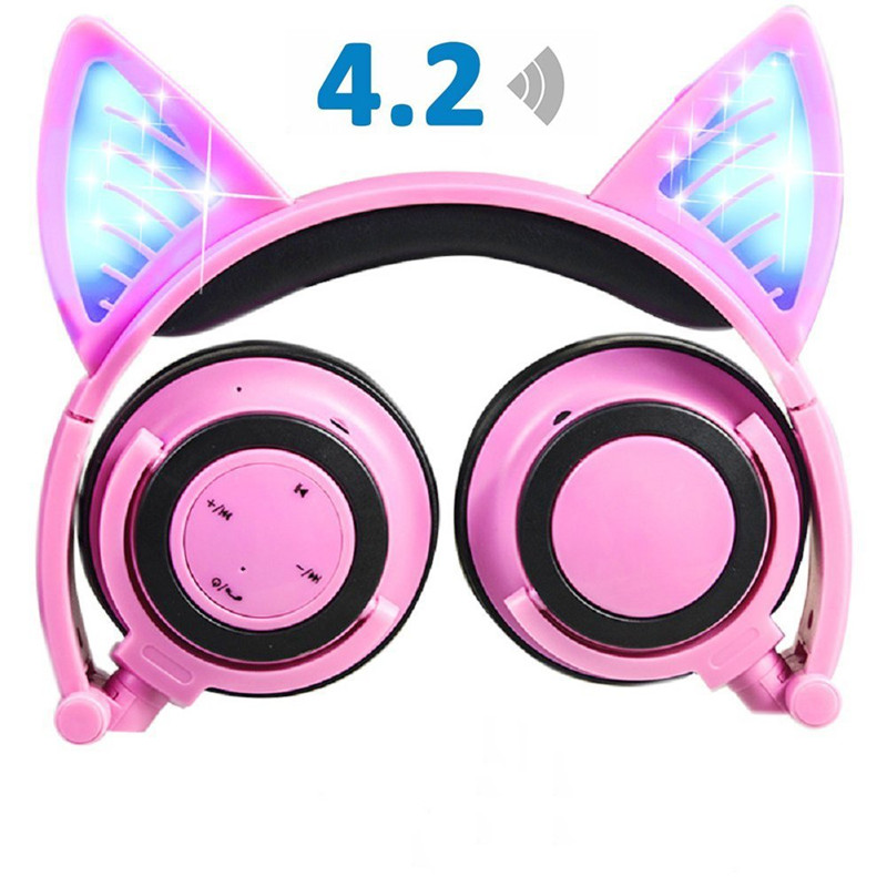 ihens5 C3 Wireless Bluetooth Cat Ear Headphones Flashing Glowing Gaming Headset Earphone with LED light Best gift for kids Girls ollivan cartoon cute cat headphones gaming headphones cat ear luminous earphone foldable flashing glowing headset with led light