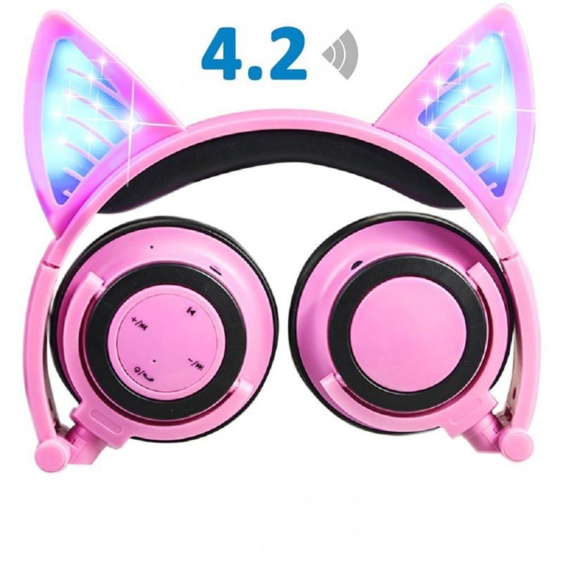 ihens5 C3 Wireless Bluetooth Cat Ear Headphones Flashing Glowing Gaming Headset Headphone LED light Best gift for kids Girls
